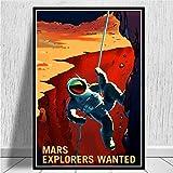 zhangdiandian Póster Art Canvas Pintura Al Óleo Viaje Espacial Universal Planet Mars Póster De Película E Impresiones Imágenes De Pared Decoración para El Hogar 50 × 70Cm Sin Marco