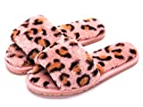 Crazy Lady Women's Fuzzy Fluffy Furry Fur Slippers Flip Flop Open Toe Cozy House Memory Foam Sandals Slides Soft Flat Comfy Anti-Slip Spa Indoor Outdoor Slip on (05/Pink, 10.5)
