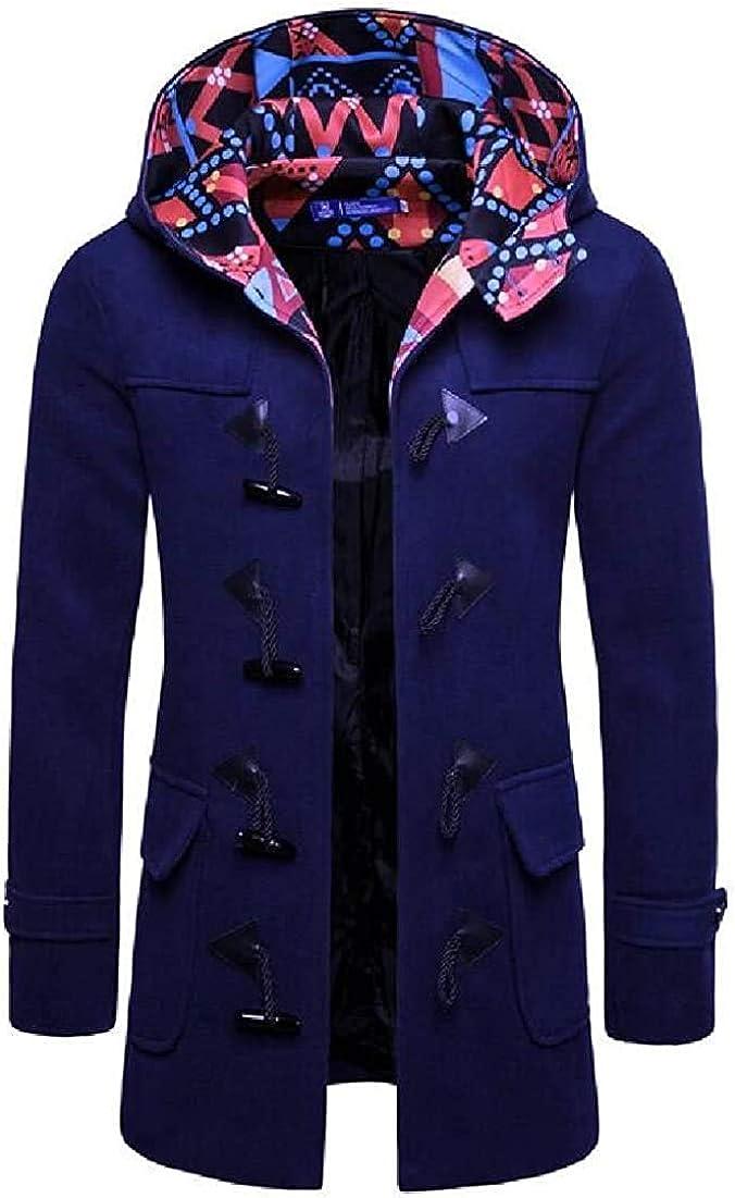 krystal bugarin Men Overcoat Wool-Blend Winter Hoodie Outerwear Pea Coat