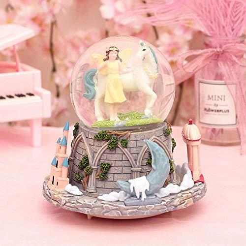 Xiangyun Creative Unicorn Girl Crystal Ball Decoration Inside and out Caja de música giratoria Enviar Regalo de cumpleaños de Amigos de Clase - Unicorn Girl Volver