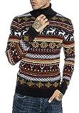 Redbridge Maglione da Uomo Stile Norvegese Pullover con Collo Alto in Cotone Slim Fit Blu M