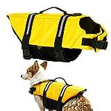 Gtpeak Dog Life Jacket Swimming Vest Saver Professional Flotation Device Reflective Stripe Adjustable