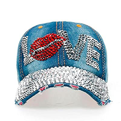 Women Men LOVE Cute Denim Rhinestone Baseball Cap Snapback Hip Hop Flat Fashion Hat