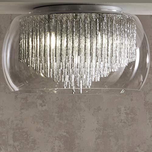 CGC - Lámpara de techo de cristal plateado con gotas de cromo