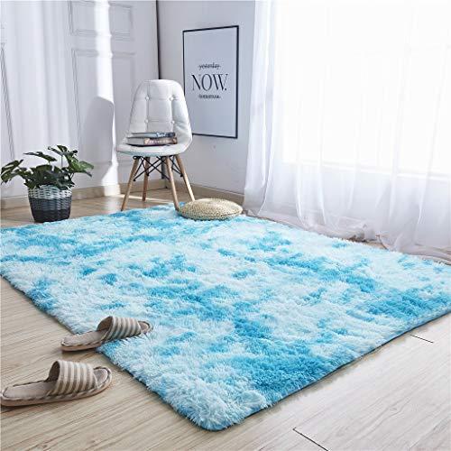 Higlles Spitzenqualität Baumwolle Teppich 120x60cm Krawattenfärben Teppich Longhair Shaggy Plüsch Schlafzimmer Wohnzimmer Bettvorleger Sofa Matte