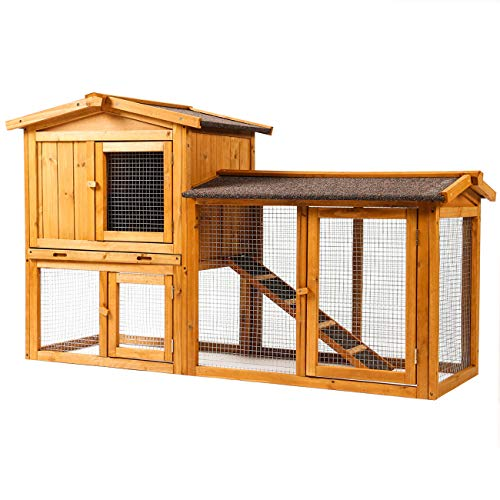 Sunnyglade Chicken Coop Large Wooden Outdoor Bunny Rabbit Hutch Hen Cage with Ventilation