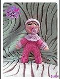 Peluche dormilón rosa, con chupete, de ganchillo-crochet. Hecho a mano....