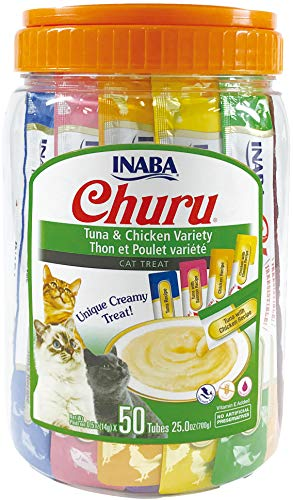 INABA Churu Lickable Purée Wet Treat for Cats | Playful Hand Feed or as Food Topper | Grain Free, Preservative Free, with Added Vitamin E and Green Tea | 50 Tube Tuna and Chicken Variety Pack