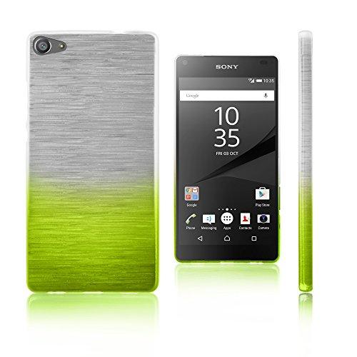 Xcessor Transition de Color Funda Carcasa para Sony Xperia Z5 Compact. Flexible TPU Gel con Gradient Hilo De Seda Textura. Transparente/Verde