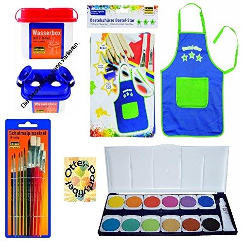 Unbekannt Set Schule Füllung Schultüte Farbkasten Pinsel Wasserbox Bastelschürze/Werkschürze blau