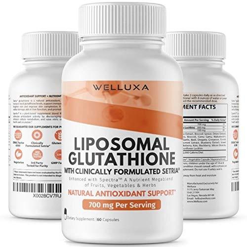 Liposomal Glutathione Setria® (700 mg) - Pure Reduced Glutathione Capsules for Skin Whitening Antioxidant Support Liver Detox Immunity - Liposomal Glutathione Supplement - GSH L-Glutathione (60 ct)