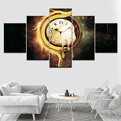 WHOOPS Burning Pcket Watch 5-teiliges HD-Hintergrundbild Kunst Leinwanddruck Mdern Pster Mdular Artng Fr Living Rm Hme Decr 30 * 40 * 2 30 * 60 * 2 30 * 80Cm Frameless