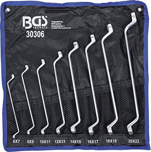 BGS 30306   Doppel-Ringschlüssel-Satz   gekröpft   SW 6 x 7 - 20 x 22 mm   8-tlg.
