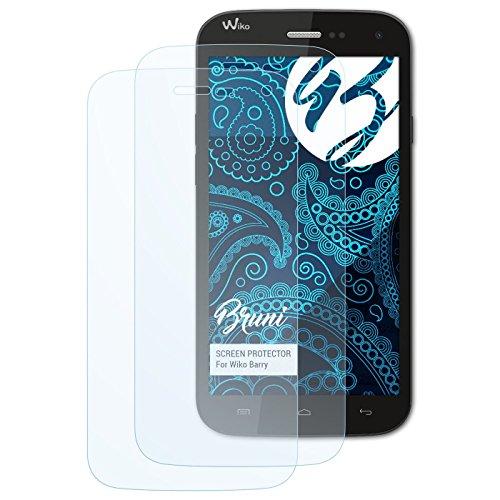 Bruni Schutzfolie kompatibel mit Wiko Barry Folie, glasklare Bildschirmschutzfolie (2X)