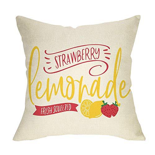 Qui556 Aardbei Lemonade kussensloop citroenen verse aardbei limonade geweldig voor banken slaapkamers veranda lente zomer jaar rond Decor