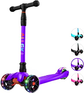 Allek Kick Scooter B02, Lean 'N Glide Scooter with Extra Wide PU Light-Up Wheels and 4 Adjustable Heights for Children from 3-14yrs (Purple)