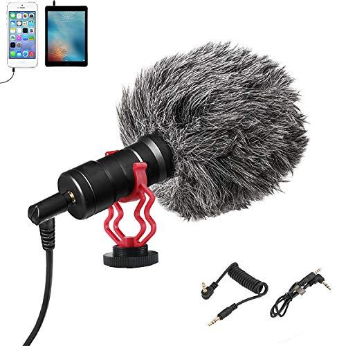 KKUYI - Micrófono de vídeo externo para videocámara y teléfono, micrófono profesional con parabrisas y estructura metálica, para grabación de vídeo DSLR/videocámara/smartphone
