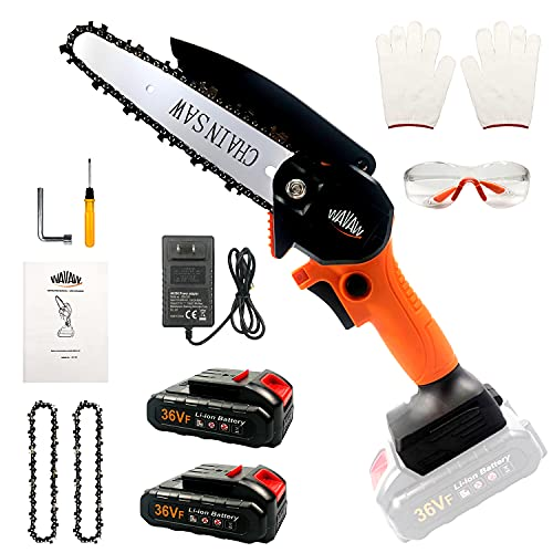 Mini Chainsaw Cordless Kit,Upgraded 6 Inch One-Hand...