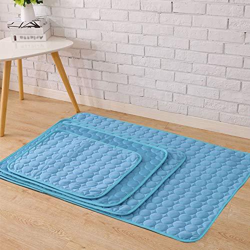 Fostudork BedMats LGH 3 capas de perro, enfriamiento mate hielo, seda, tamaño pequeño, tamaño mediano para perro, cama obscenada, sofá/suelo/asientos de coche, puppy, azul, L – 68 x 53 cm