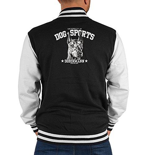 Coole Herren Sportjacke, Sommerjacke, College Jacke: Tiermotiv Dog Sports Dobermann - Farbe: Schwarz Weiss