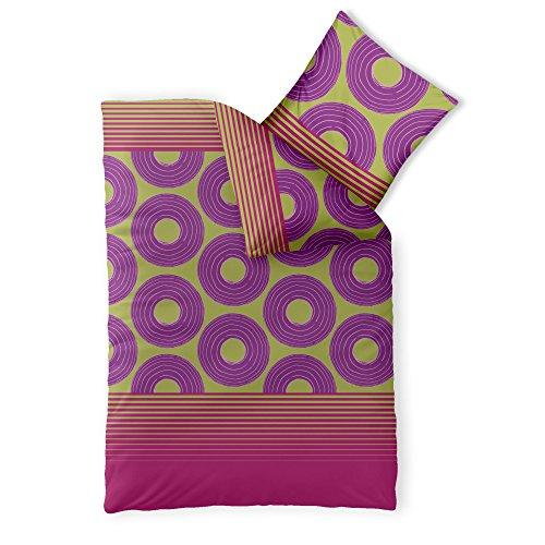 CelinaTex Harmony Bettwäsche 155 x 220 cm Mikrofaser Bettbezug NEA Streifen Kreise Grün Pink Violett