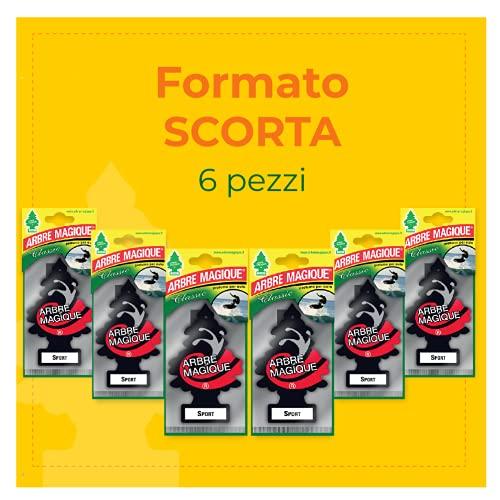 Arbre Magique 105507, Profumatore Auto, Fragranza Sport, Profumazione Prolungata per 7 Settimane, Confezione da 6 Pezzi, Set di 6