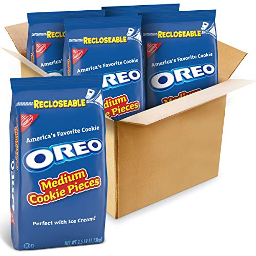 OREO Medium Cookie Pieces, 2.5 lb Bags, Chocolate, 160 Oz (Pack of 4)