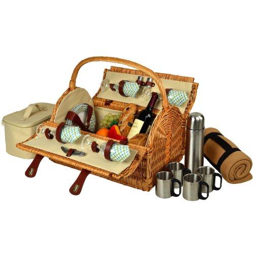 Picnic en Ascot Yorkshire sauce cesta de Picnic con Servicio para 4