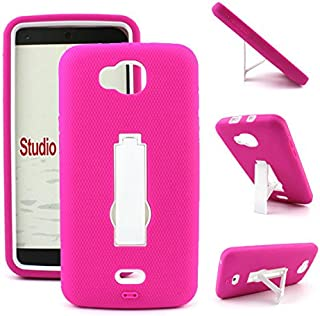 Heavy Duty Kickstand Case for BLU Studio 5.5 S [D630u] Perfect FIT Many Colors Available (Hot Pink on White)