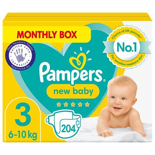 Oferta de 204 pañales Pampers New Baby tamaño 3, de 6 a 10 Kg