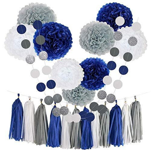 CHOTIKA 23pcs Tissue Paper Flowers Pom Poms Party Girl Decorations Tassel Garland for Wedding Bridal Shower graduation bachelorette celebrate first birthday graduate supplies (Navy Blue, White, Grey)