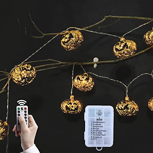 Luces de calabaza LED Halloween calabaza cadena luces de Acción de Gracias Halloween decoraciones de Halloween cadena de luces de calabaza para puerta jardín terraza