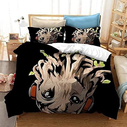 KMTSYD Groot Juego de ropa de cama Groot, funda de cama infantil, impresión 3D, universal en todas las estaciones (3200 x 200 cm + 80 x 80 cm x 2)