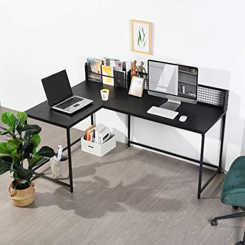 L Shaped Corner Desk Home Office Industrial Style Large Desktop Computer Gaming Desk, Black PC Workstations 165 * 110 * 75-95cm