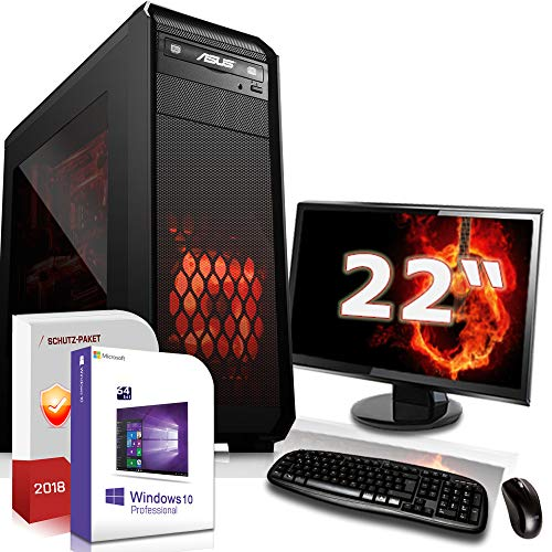 Gamer PC Set mit Monitor AMD Ryzen 5 3400G 4x3.7Ghz |ASUS Board|22 Zoll TFT|16GB DDR4|256GB SSD 2000GB HDD|Radeon RX Vega 11 Grafik 4K HDMI|DVD-RW|USB 3.1|SATA3|Sound|Windows 10 Pro|GigabitLan|3 Jah