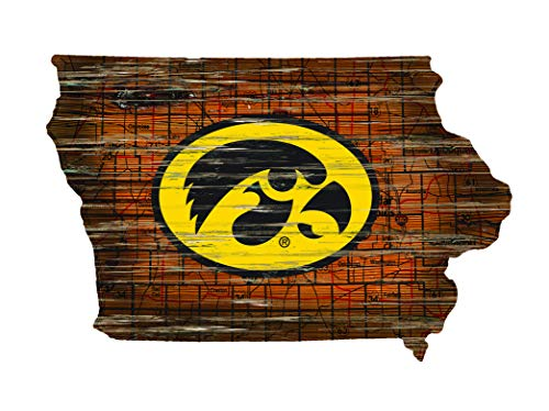 Fan Creations NCAA Iowa Hawkeyes Unisex Iowa Mini Roadmap State Sign, Team Color, 12 inch