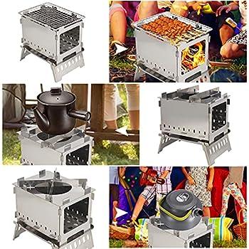 Exnemel réchaud de Camping Pliant, réchaud à Bois Portable Coupe-Vent pour Camping Barbecue Camping Pliant léger et Compact pour la randonnée, pêche, randonnée, randonnée, Le Pique-Nique