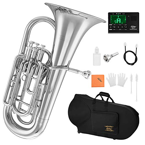 Eastar Bb Euphonium 4 Valve Euphonium B Flat with Hard Case, Mouthpiece, Tuner, Valve Oil Cleaning Kit and Gloves, Student 4 Piston Euphonium, Nickel Plated, EEU-380N
