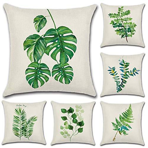 JOTOM - Juego de 6 fundas de cojín cuadrada de lino y algodón, para decoración de sofá o habitación, 45 x 45 cm, Hoja verde 1, 45 x 45 Centimeters