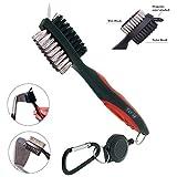 K&V Golf Club - Cepillo y limpiador para palos de golf (nailon y acero inoxidable, con pinchos para la limpieza, con clip de sujeción (mosquetón) para colgar en bolsa de golf, ergonomía