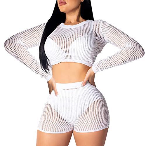IHEHUA Damen Aushöhlen Bademode Zweiteilige Bikini Set Badeanzug Mesh Strandkleid Fischernetz Beachwear Vertuschen Shirt Cover Up Strandponcho(A-Weiß,XL)