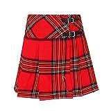 Tartanista - Kilt/Minifalda Escocesa con Correas - 41,9 (16,5') - Royal Stewart - Rojo - EU46 UK18