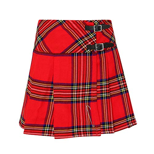 Tartanista - Kilt/Minifalda Escocesa con Correas - 41,9 (16,5') - Royal Stewart - Rojo - EU42 UK14