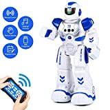 Aukfa Rc Robot Toy for Kids,Rechargeable Smart Infrared Sensing Robot Toys with Remote and Gesture Control, Programmable Intelligent Robotics,Walking Singing Dancing Robot Toy for Boys Girls,Blue