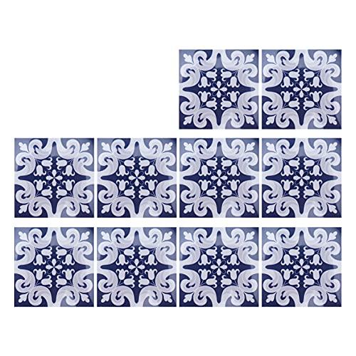 Gedourain Etiqueta engomada del azulejo, 10x10cm 10Pcs Etiquetas engomadas del Piso Etiqueta Adhesiva para el baño de la Cocina(5)
