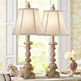 Elize Traditional French Country Style Table Lamps Set of 2 Vintage White Washed Candlestick Bell Shade for Living Room Bedroom House Bedside Nightstand Home Office Family - Regency Hill