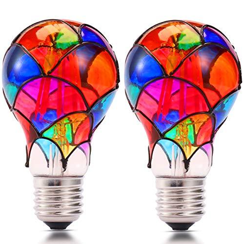 Farbglas LED Glühbirne, E27 Basis 2700k Leuchtglühlampe, nicht dimmbar, geeignet für Familienzusammenführung, Garten, Restaurant, Festivaldekoration Birne (2 pack ) (A60-LAMPEN)