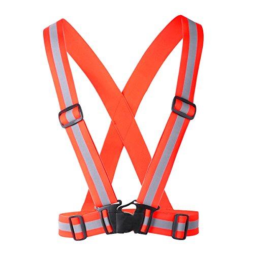 iiniim Chaleco de Seguridad Reflectante Cinturon Ajustable Cruzado Alta Visibilidad Día Noche...