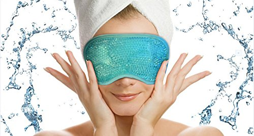 Best Eye Mask - Hot - Cold Gel Beads - Sleep Mask - Anti-Aging - Perfect for Relieving Migraines, Stress Related Tension, Sinus Pain, Meditation, Reduce Puffy Eyes, Dark Circles - Therapeutic Relief