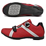 LU-Model Zapatillas de Ciclismo para Carretera Plus, con Suela de y Sistema rotativo de precisión Suela Dura para Zapatos de Montar sin Bloqueo Red-41